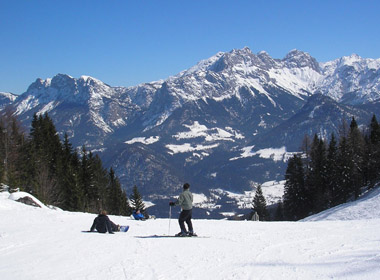 some students skiing in the Alps